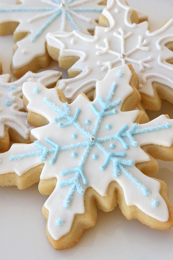 Beautifully decorated snowflake sugar cookies. Holiday ...