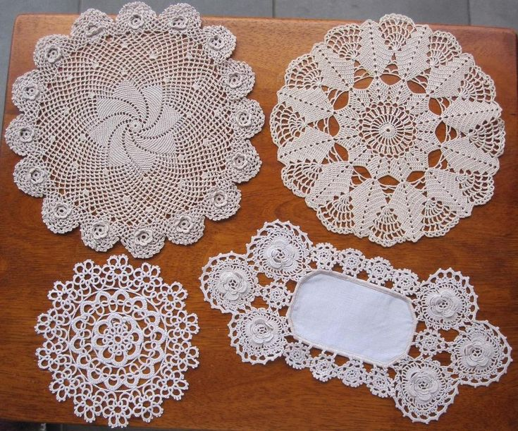 Four Vintage Hand Crocheted DOILIES 'VARIETY PLUS' 27cms x 13cms  * 23, 21, 14cms Diameter In excellent condition. *Laundered *Starched *Ironed   so comes to you ready to use.