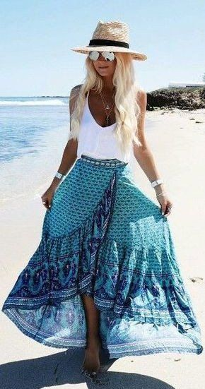 #spring #outfits White Tank + Beach Hat + Blue Printed Maxi Skirt