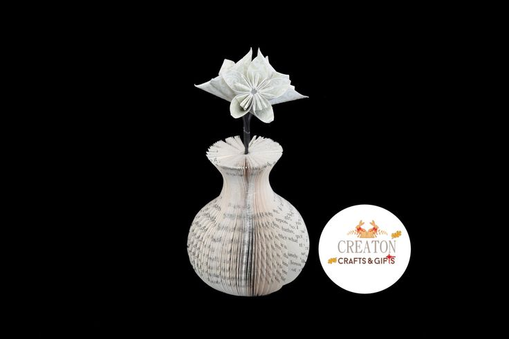 Mini Book Art Vase with Origami Kusudama Flowers  - Pale Green  paper flowers - unique gift - Mothers day Gift - 1st  4th  anniversary gift by CreatonCrafts on Etsy