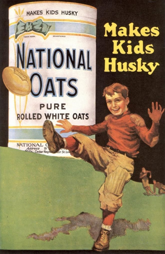 National Oats, Cereal Porridge Oats Breakfast, USA (1920) back when it was a compliment for a boy