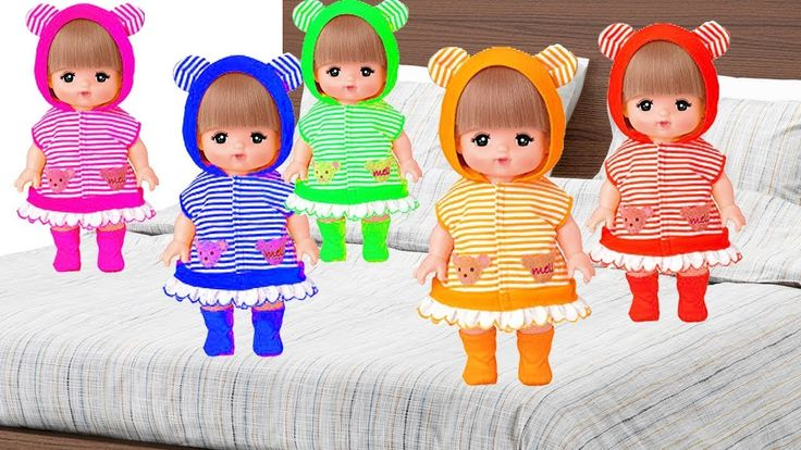 Learn Colors with Five Little Mell-chan Doll Bad Baby Jumping on the Bed...
