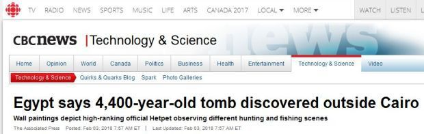 CBC News Egyptian tomb 4400 years old