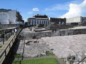Templo Mayor archaeological site - the ancient Aztec capital lies at the heart of modern-day Mexico City.