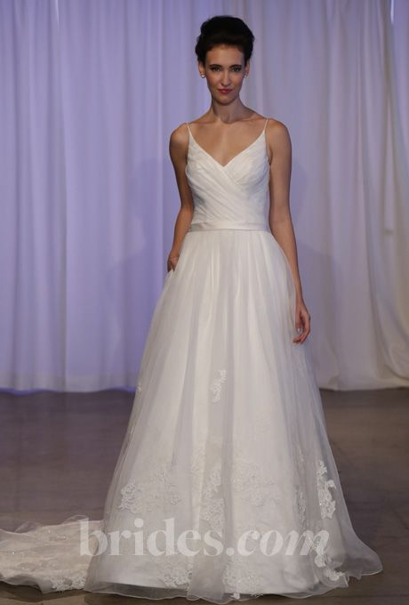 """Brides.com: Kelly Faetanini - Fall 2013. """"Reid"""" sleeveless silk organza v-neck ball gown wedding dress with beaded lace applique details and pockets, Kelly Faetanini  See more Kelly Faetanini wedding dresses in our gallery."""
