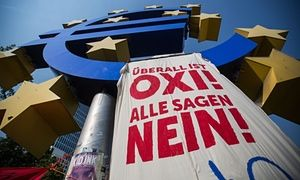 Athens was poorly prepared for the 2008 crash - living off easy credit, while spending on wages and defence soared, and taxes began to fall away: #auspol A banner urging a no vote in Sunday's referendum in Greece hangs from a euro sign monument in front of the former European Central Bank headquarters in Frankfurt.
