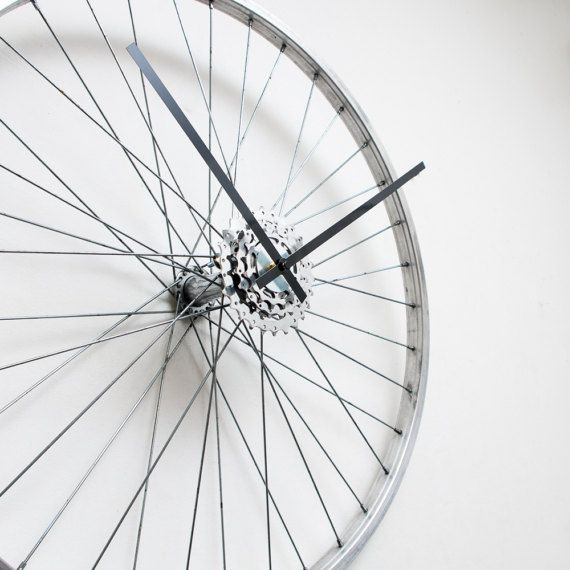 Bicycle Wheel Clock  Large Clock  Bicycle Clock  Unique