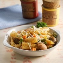 TORTIGLIONI WITH POTATOES AND SAUSAGE http://www.sajiansedap.com/mobile/detail/13764/tortiglioni-with-potatoes-and-sausage