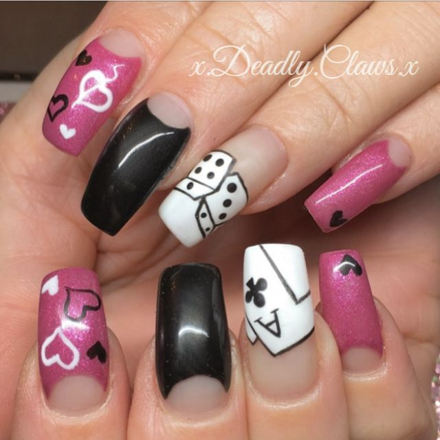 Gel nails acrylic nails nail art Vegas nails valentines nails long nails - 25+ Unique Vegas Nail Art Ideas On Pinterest Manicure Games