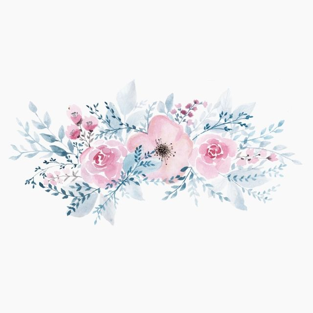 Watercolor Flowers Border Design Painting Pink Flowers