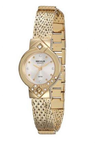 20366LPSVDS1 Relógio Feminino Dourado Seculus
