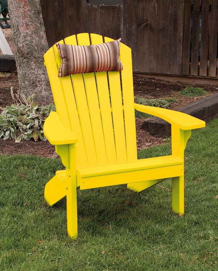 bright yellow amish polywood adirondack chair great for summertime fun out on the patio