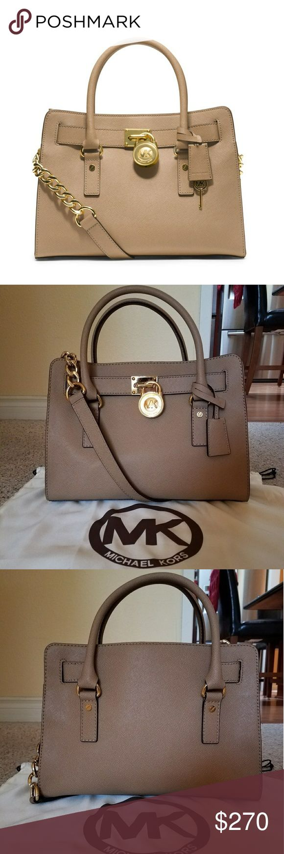 Michael Kors Medium Hamilton Satchel Dark Khaki Medium Hamilton Satchel With Gold Hardware. Saffiano Leather And Has Been Cleaned And Sealed With Michael Kors Water And Dirt Repellent.   Bag Has Two Handles With One Non-Removable Shoulder Strap. Interior Has One Zipper Pocket And Two Small Open Pockets. Magnetic Close. Dust Bag Included. In excellent condition! Michael Kors Bags Satchels