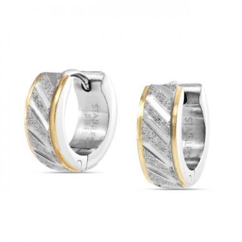 Bling Jewelry Mens Gold Tone Sandblast Hoop Striped Huggie Earrings Stainless