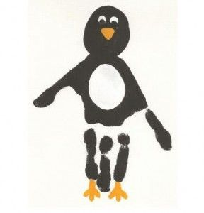 Cute Crafts Using Hand Prints: Craft, Handprint Penguin, Middle Finger, Handprint Art, Hand Prints, Penguin Handprint, Kid, Hand Print Art