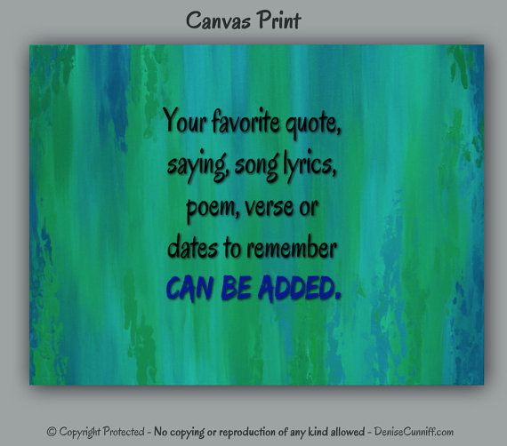 Abstract canvas print, Personalized favorite saying, Teal blue & green home office decor, Song lyrics, Inspirational wall quote, Bible verse