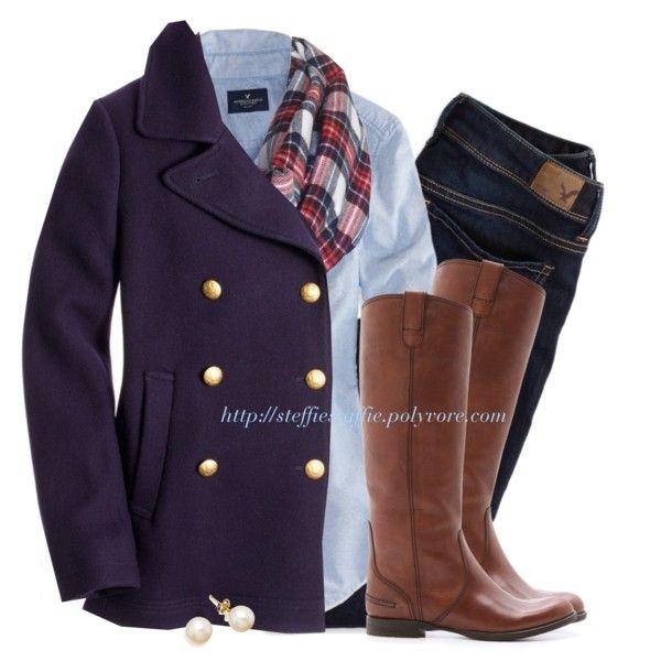 """J.Crew peacoat, Tartan flannel scarf & Oxford shirt"" by steffiestaffie on Polyvore"