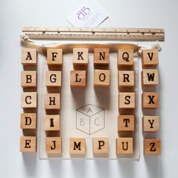 Natural Wood Alphabet Block Set for Babies and by BloomAndBlissCA