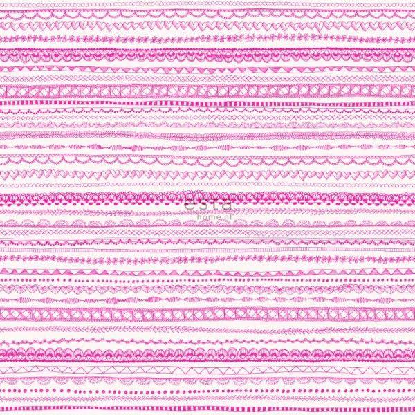 138840 HD vliesbehang kanten lint fuchsia roze