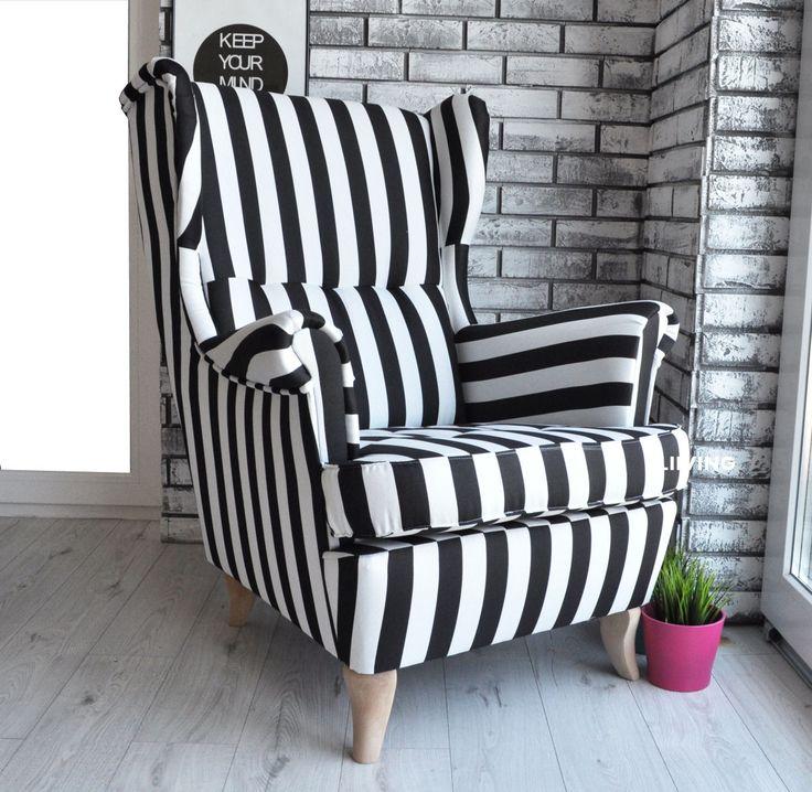Fotel uszak w piękne pasy czarno białe Wyjątkowa tkanina tkana pasy czarno białe Oparcie na wciągach Fotele możemy wykonać w całkowicie innych tkaninach Fotel standardowych wymiarów – jak poniżej Nóżki jasny buk , calvados lub ciemne wenge Wygodne oparcie i wygodne siedzisko na sprężynie falistej Bardzo masywny stelaż wykonany z drewna i płyty. Solidna konstrukcja …