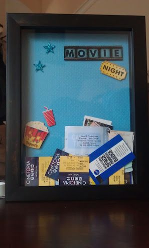 Put all our old ticket stubs in a shadow frame to decorate our movie room.