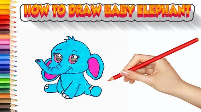 How To Draw A Cartoon Elephant Easy Easy Drawing For Kids Animal Baby Elephant Smile Cute Ca Easy Drawings For Kids Drawing For Kids Cartoon Elephant