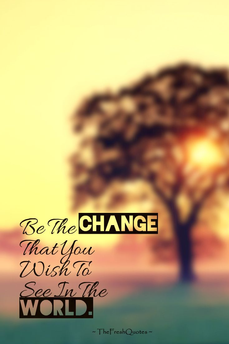 Be The Change That You Wish To See In The World. » Mahatma Gandhi