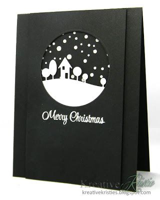 handmade card from Kreative Kristie: White Christmas ... black and white ... black base and main panel ... white Memory Box landscape line with house and trees ... embossing paste circles snow ... great mod look!!