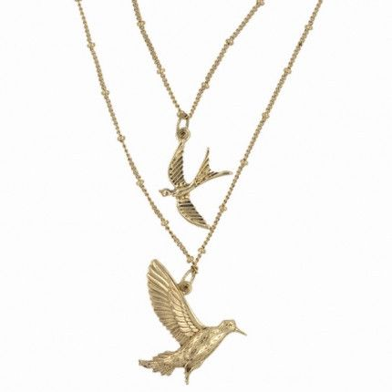 Double Strand Gold Birds Pendant. Pretty double strand gold birds pendant, with two gold-tone flying birds each hanging at the end of two gold-coloured beaded chains.