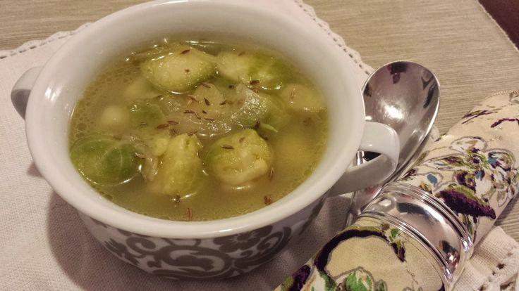 Zuppa di cavoletti di bruxelles al profumo di cumino /Brussel sprouts soup flavored with cumin