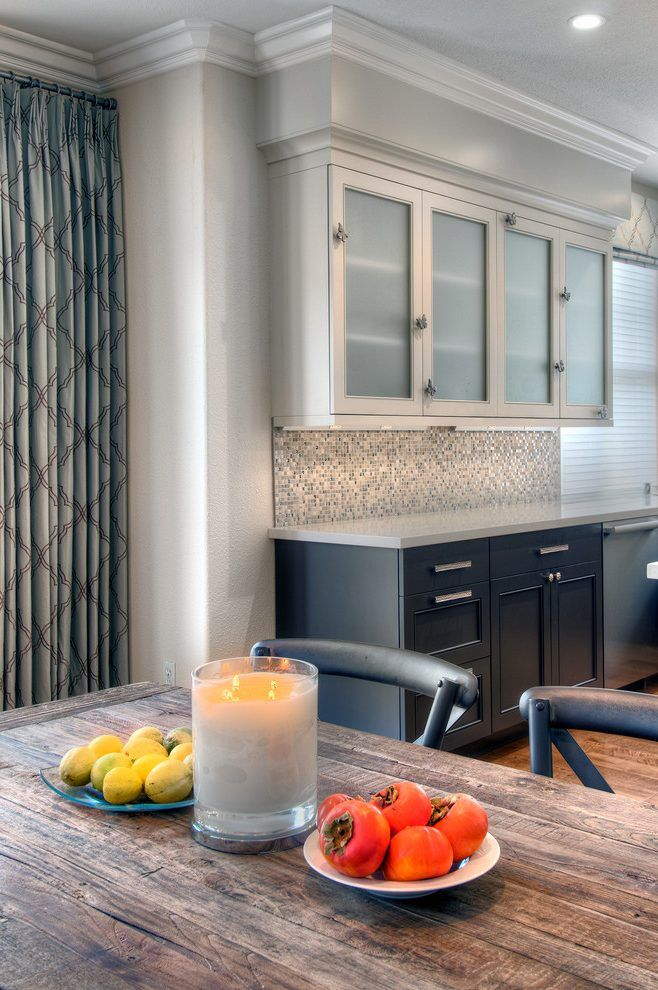 modern looking homes kitchen transitional with two colored cabinetry