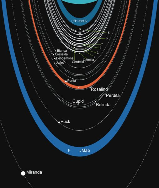 This date in science: Uranus discovered, completely by accident 3/13/15 Today, Uranus is known to possess a complicated ring system (although nowhere near as complicated as that encircling Saturn).  This schematic of the Uranian rings is from Wikimedia Commons.