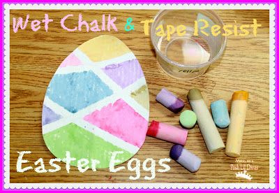 wet chalk & tape resist Easter eggs - a fun activity for kids