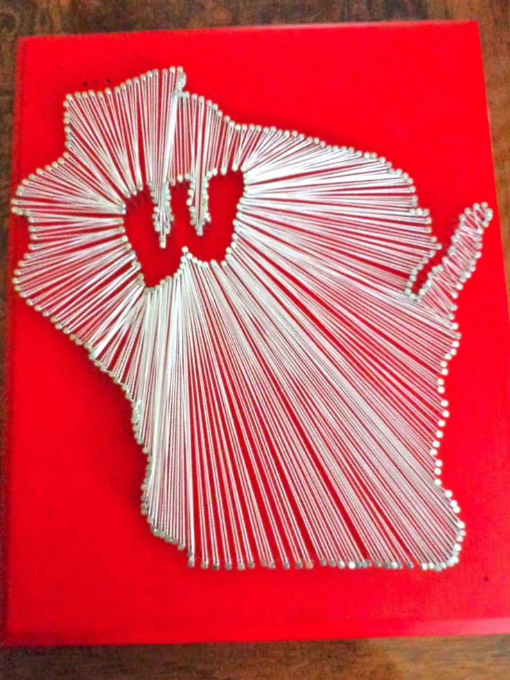 Wisconsin Badgers art with nails, wooden board, paint and string