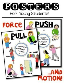 You are receiving a set of TWO PUSH AND PULL POSTERS!(Print as is: 8 1/2 X 11 ...or Enlarge!)1 PUSH poster with 6 different actions1 PULL poster with 6 different actionsGreat for the classroom for your FORCE AND MOTION unit! ...these feature kids in action doing every day activities.I hope you enjoy!If you do, please look in my TPT store for additional PUSH and Pull items:Push and Pull sorting sheetPush and Pull sorting cards for pocket chart activityPush and Pull ReaderForce and Motion ...