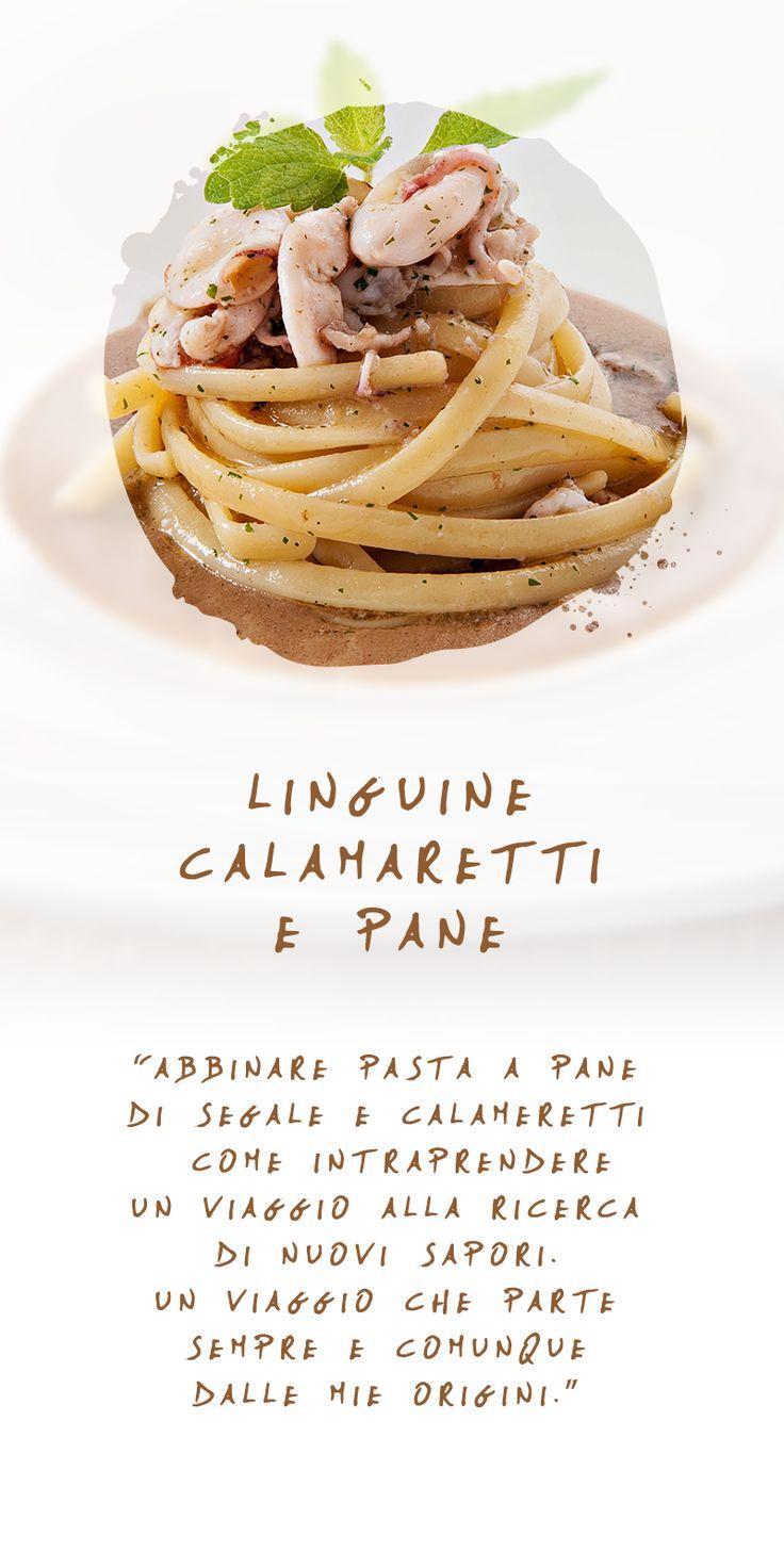 Linguine calamaretti e pane - una ricetta in cui convivono tradizione e novità #contrasti