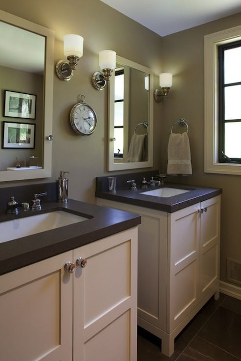 Artistic Designs for Living - bathrooms - taupe bathroom, taupe bathroom design, taupe bathroom ideas, taupe walls,  Craftman Style bathroom