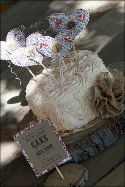 Key lime cake with key lime cream cheese frosting? I will be looking for this recipe. Love how it's decorated.