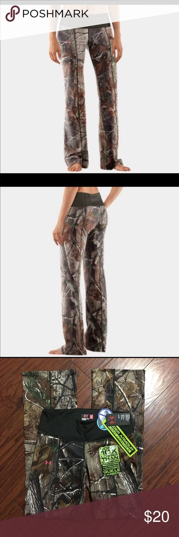 """Under Armour Fitted Pant Brand new real tree camouflage Under Armour fitted, scent control pants. Size small, waist measures 15"""" side to side laying flat (has stretch to them if needed) and inseam measures 33"""" and bottom leg opening is 9"""" side to side laying flat. Under Armour Pants"""