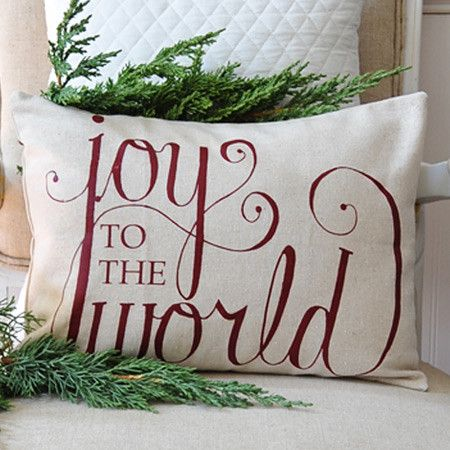 Joy to the World Pillow Cover at Joss & Main...could stencil!