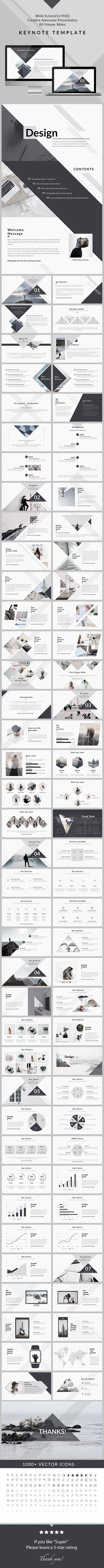 Design - Clean & Creative Keynote Template - Creative Keynote Templates #Infographics