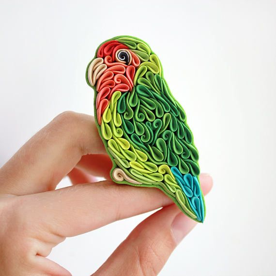 Parrot brooch pin Parrot jewelry Polymer clay parrot Bird