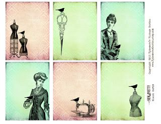 Ephemera's Vintage Garden: Weekly Freebie: Sewing Journal Cards
