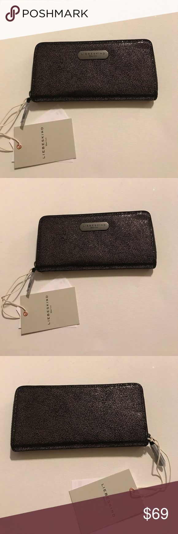 NWT! New Liebeskind Berlin black glitter wallet❤️ New with tags and original packaging. Liebeskind Berlin real leather wallet. Black glitter pattern, zip around style. See pics. Liebeskind Bags Wallets