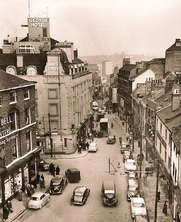Carlton Street and Goose Gate, Nottingham in the 1950s. George Street is on the left.