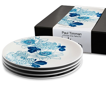 tattoo lotus 4 side plate gift set by Ink Dish