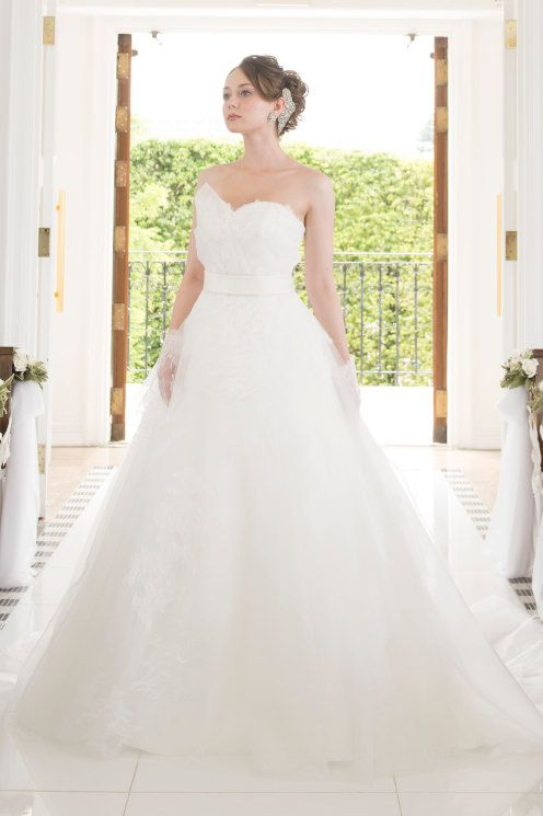 A ライン ハートカット オーガンザ ノースリーブ ファスナー チャペル 花嫁 二次会 ドレス Hly0068