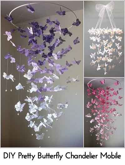DIY Pretty Butterfly Chandelier Mobile