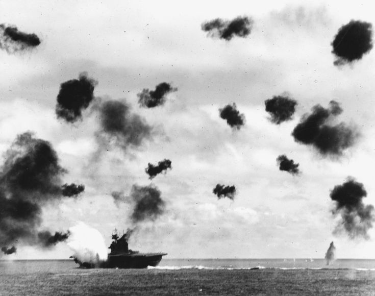 (June 6th, 1942) USS Yorktown (CV 5) engaging Japanese aircraft during the Battle of Midway. Three Val dive-bombers would cripple USS Midway before being sunk by Japanese Submarine I-168 on June 7th, 1942. [5660x4467]
