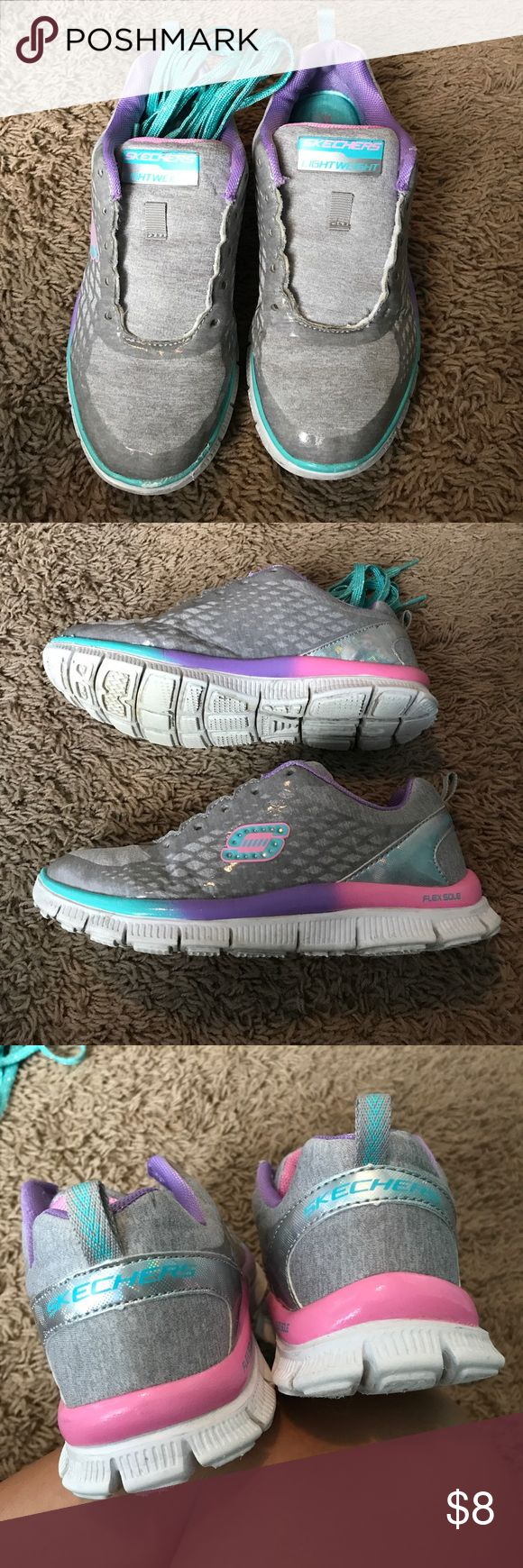 Girls Skechers with memory foam soles! Great shape, laces included I just haven't laced them back up after cleaning them! They look new except for some scuffing on the toe area that's pictured but not very noticeable! Skechers Shoes Sneakers